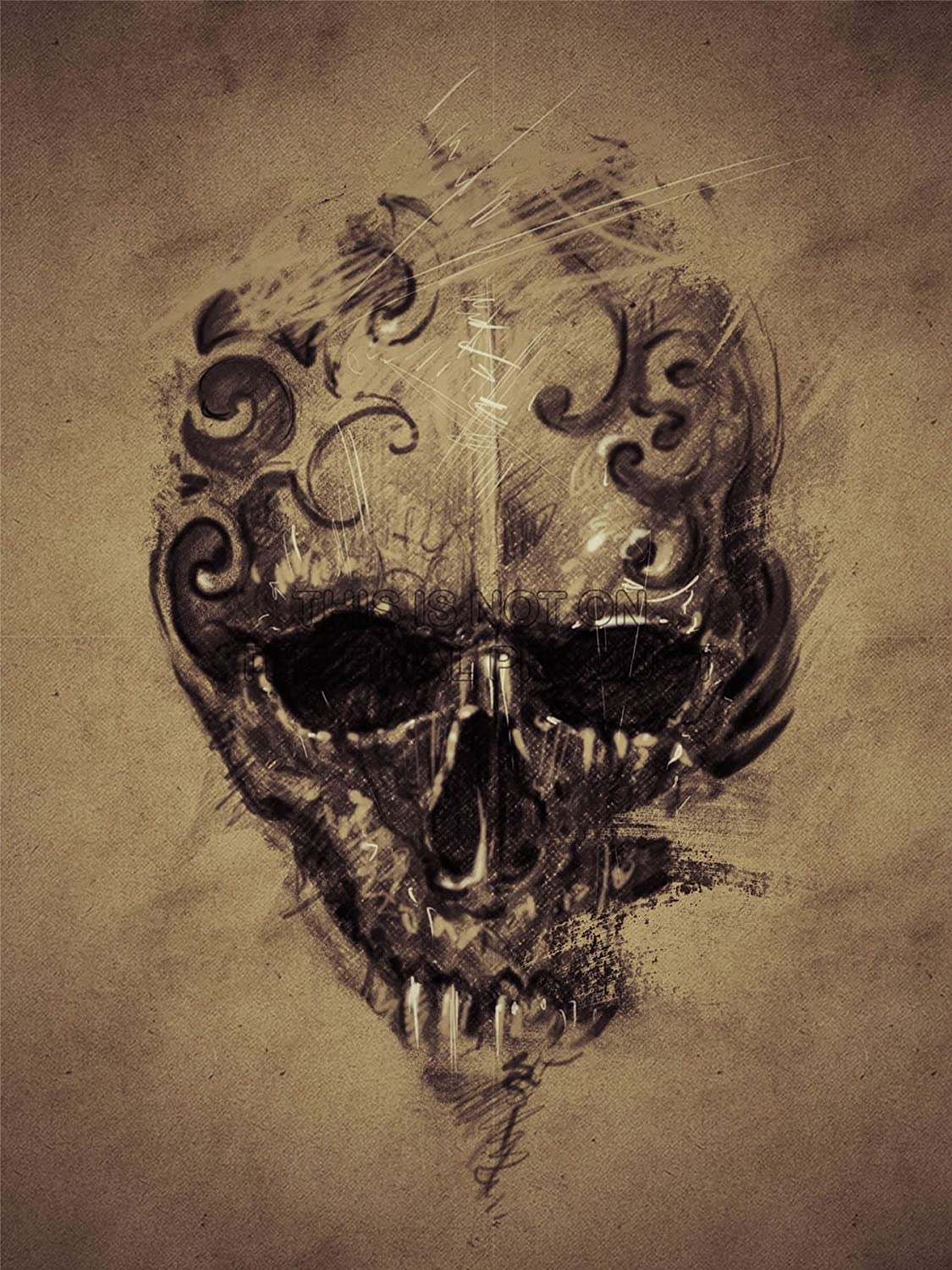 PAINTING DRAWING TATTOO CREEPY SKULL GOTHIC GRUNGE ART PRINT ...