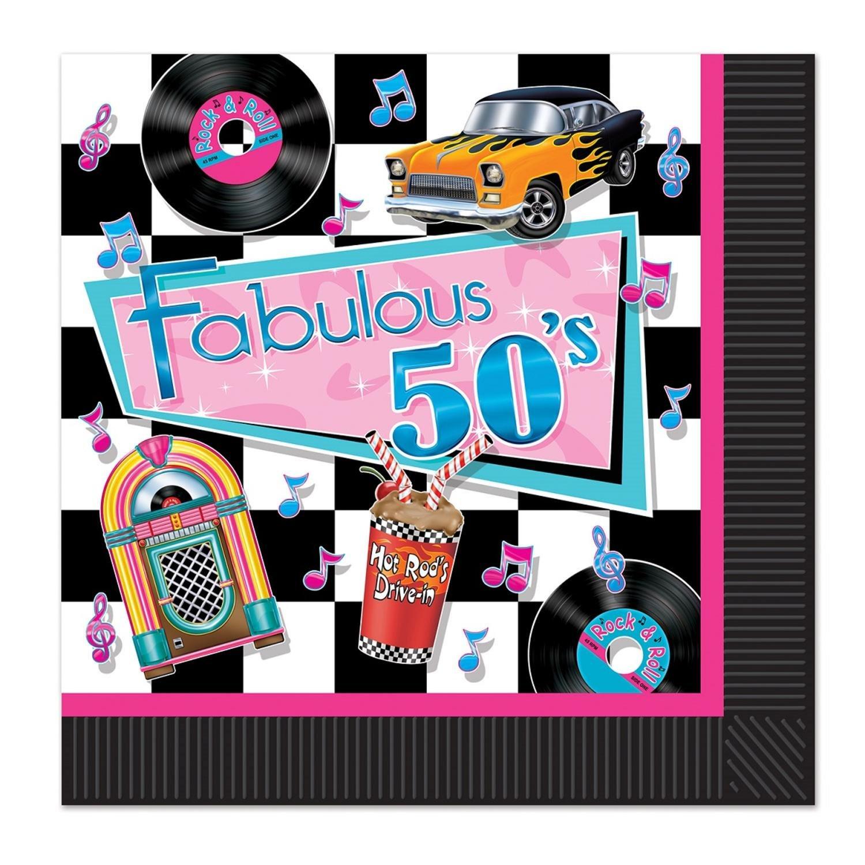 Club Pack of 192マルチカラーFabulous 50のテーマの2重使い捨てパーティーLuncheon Napkins B015A6MTQQ