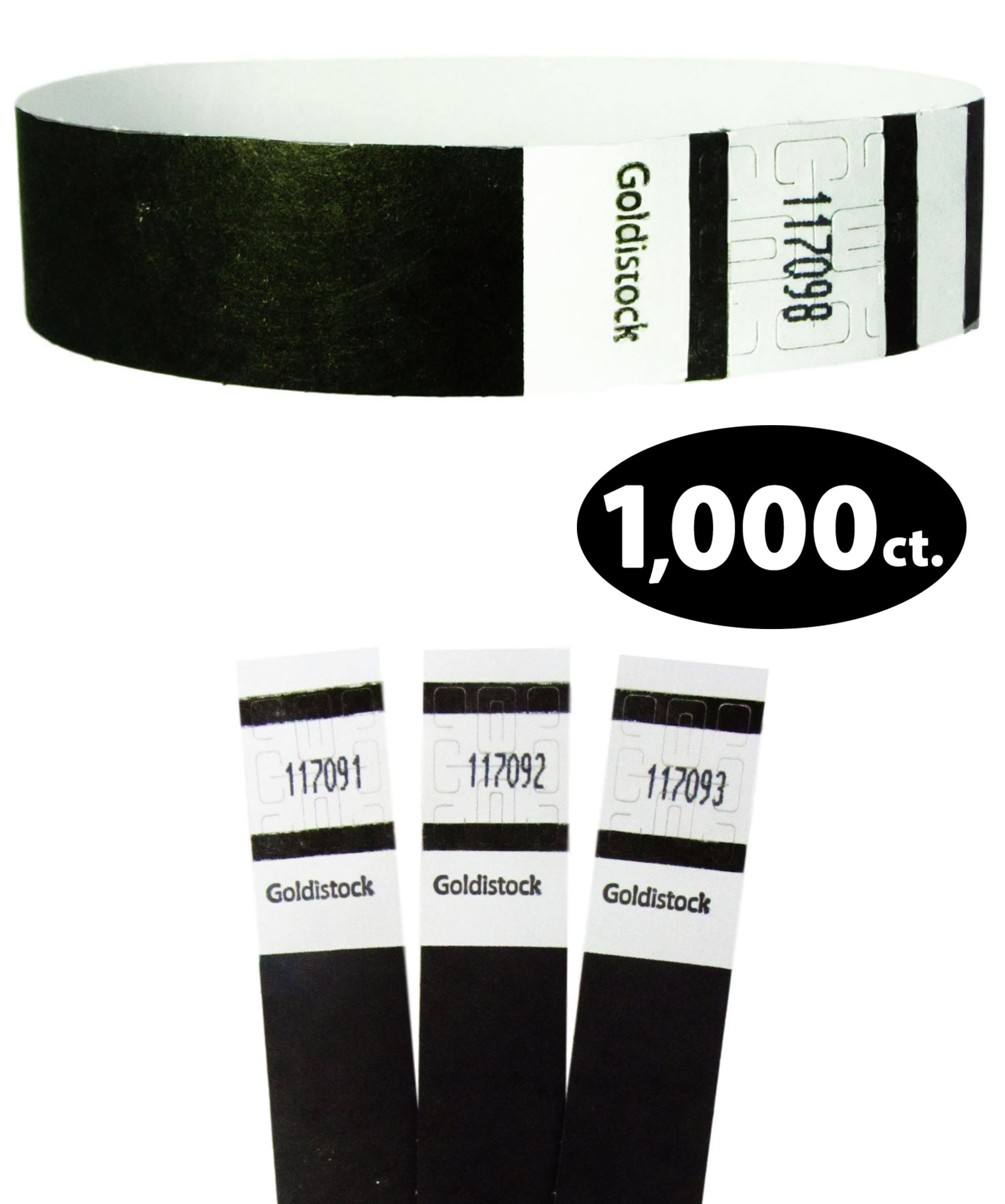 Goldistock Original Series - 3/4'' Tyvek Wristbands Tuxedo Black 1,000 Count Value Pack - Event Identification Bands (Paper - Like Texture)