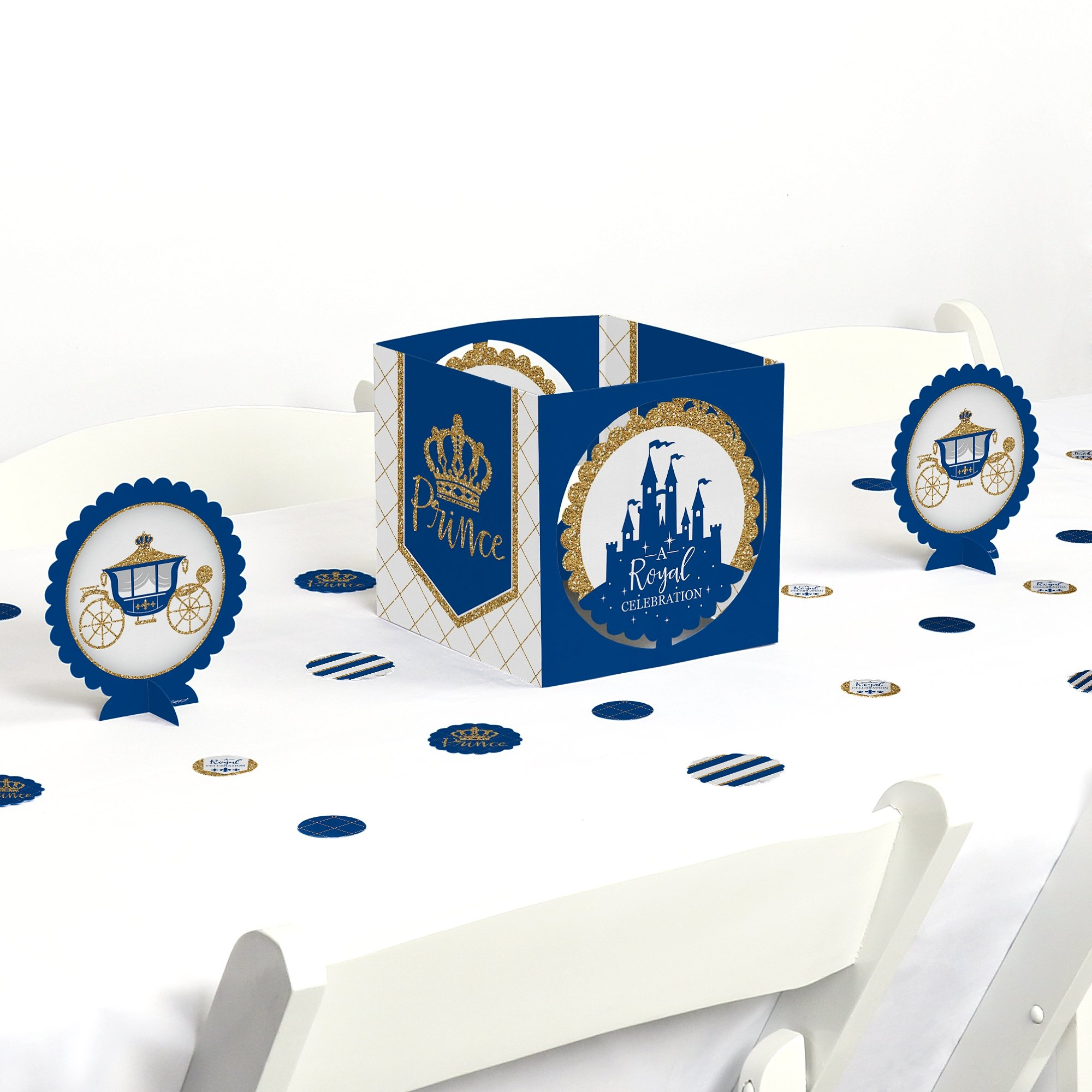 Big Dot of Happiness Royal Prince Charming - Baby Shower or Birthday Party Centerpiece & Table Decoration Kit