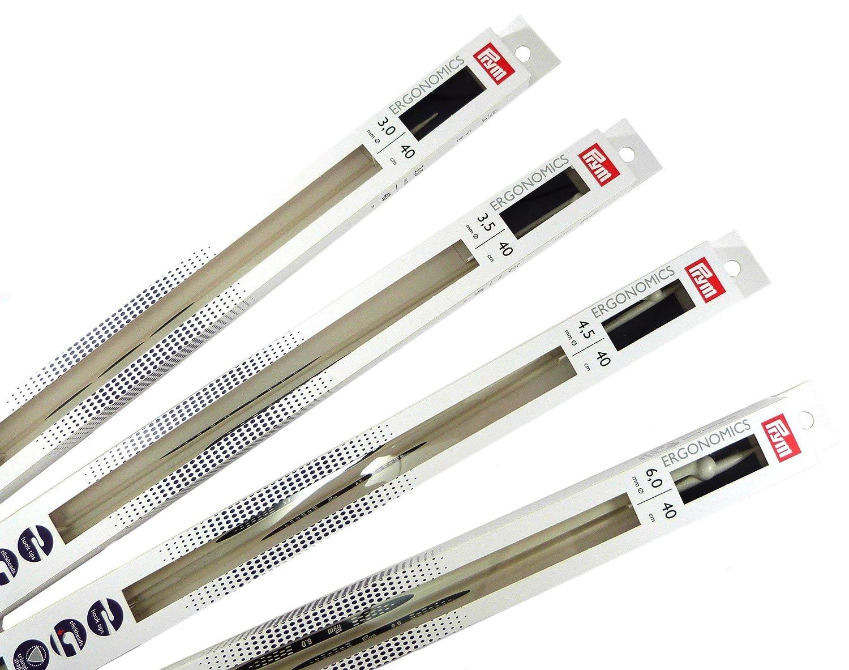 de Metal Prym 1 par de Agujas ergon/ómicas para Tejer de un Solo Punto de la Marca 40/cm de Longitud