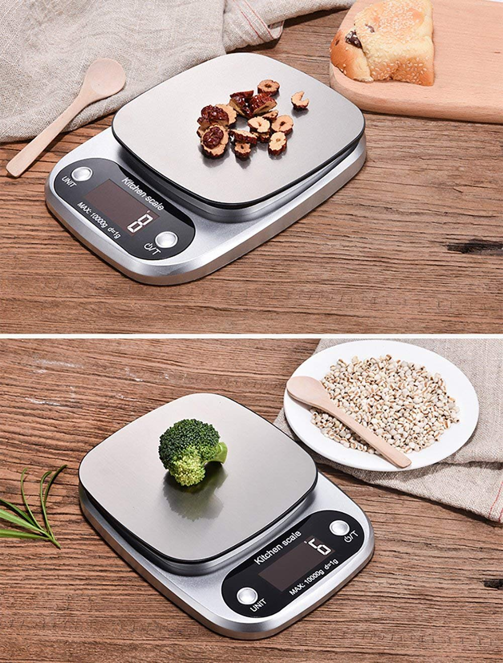 Escalas de cocina Vovoly Digital (10 kg / 1g), básculas de cocina electrónicas de alta precisión con gran pantalla retroiluminada para cocinar en el hogar, ...