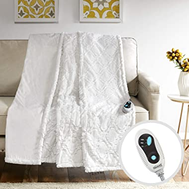 Beautyrest Brushed Long Fur Electric Throw Blanket Ogee Pattern Warm and Soft Heated Wrap with Auto Shutoff, 50  W x 60  L, Ivory