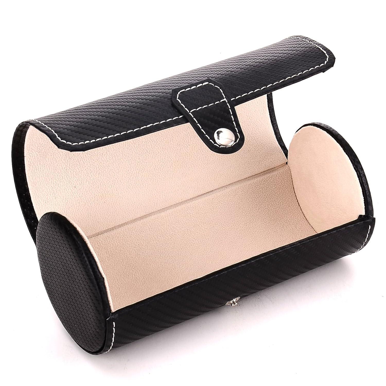 Blenheim London® Estuche Cilíndrico para Relojes, Caja de Fibra de Carbono con espacio para 3 Relojes. Ideal para Viajes. Color Negro.