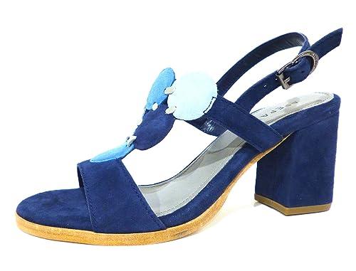 Apepazza PLW05-suede blu sandali donna in camoscio blu con tacco medio n° 38 421becb4618