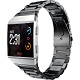 Kartice for Fitbit Ionic Bands Accessories,Fitbit Ionic Stainless Steel Metal Link WristBand Replacement Strap with Folding Clasp for Fitbit Ionic- Black