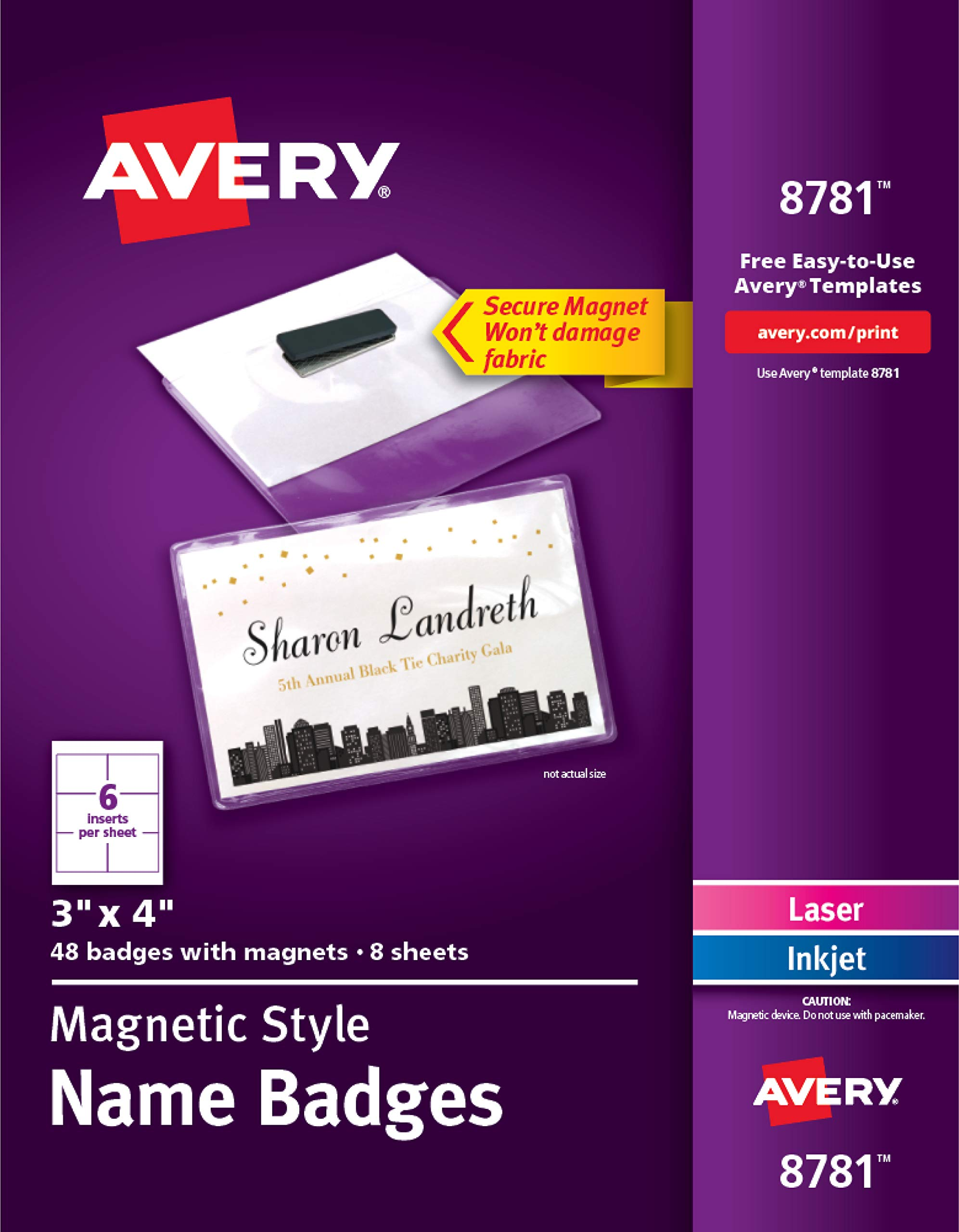 Avery Magnetic Badges Name and Badge Label, 3'' x 4'' (8781)