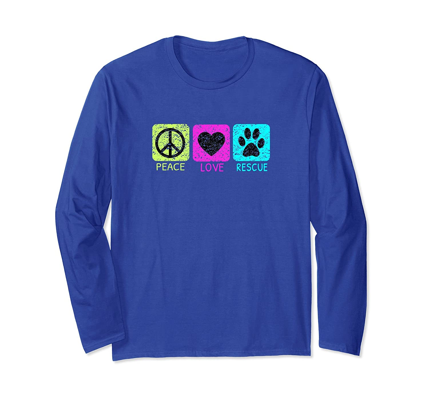 Peace Love Rescue Dogs Distressed Graphic Design T-Shirt-mt