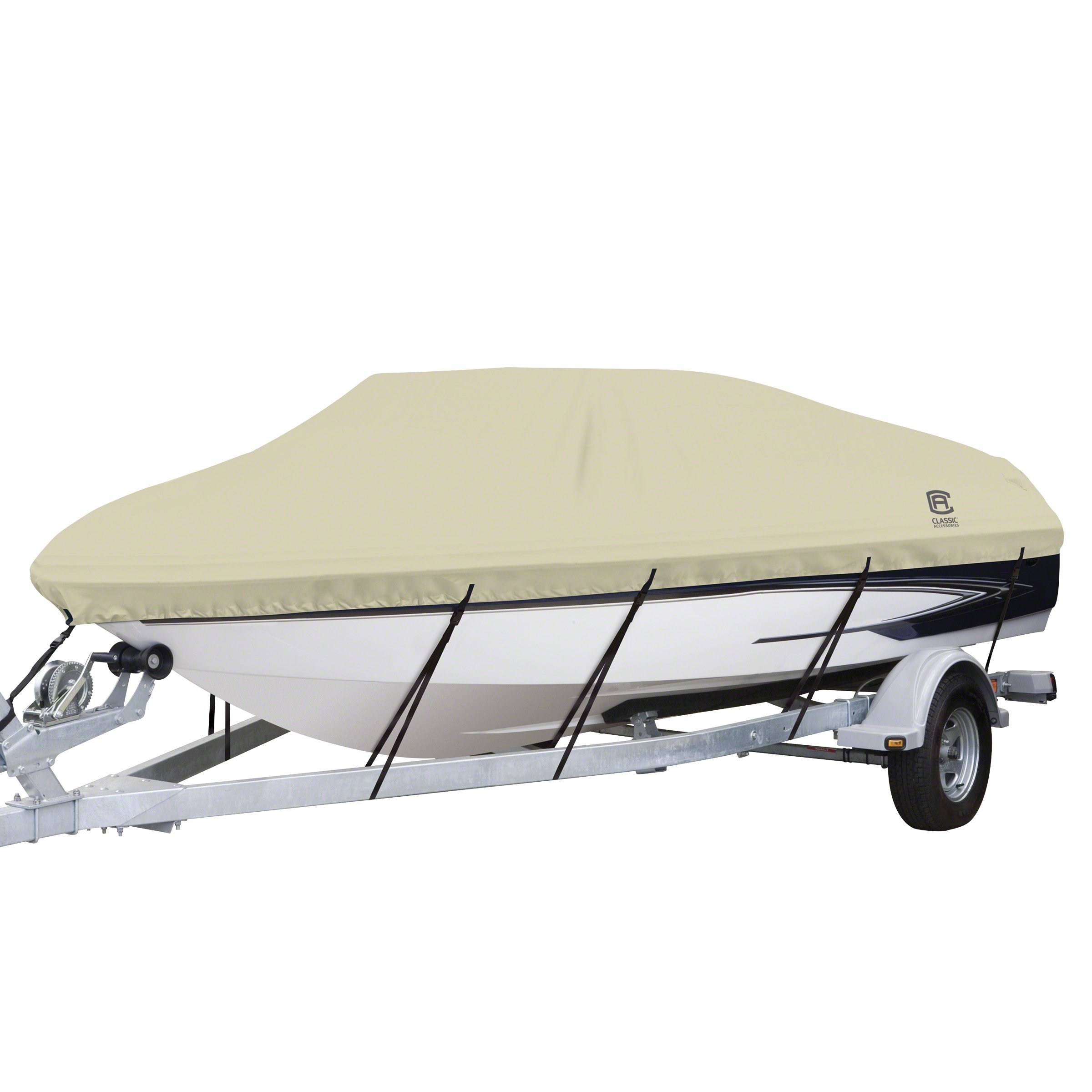 Classic Accessories DryGuard Heavy Duty Waterproof Boat Cover For V-Hull Runabouts, For 17' - 19' L Up to 102'' W by Classic Accessories