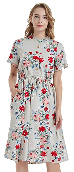 97244422c2 Ashir Aley Floral Casual Swing Midi Dress with Pockets Plus Size Women s Midi  Fall Dresses(