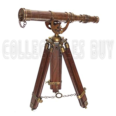 A Vintage Antique Tripod Telescope Brass Nautical Telescopes Harbour Master Stand (Antique Finish): Camera & Photo
