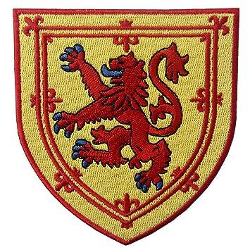 Escudo de armas de Escocia Escudo de león cruzado Parche Bordado de Aplicación con Plancha: Amazon.es: Hogar