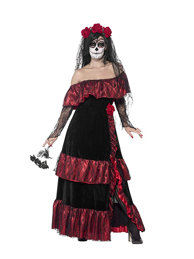 Smiffys-43739X1 Disfraz de Novia del Día de Muertos, con Vestido y Velo con Rosas, Color Negro, One Size (43739X1)