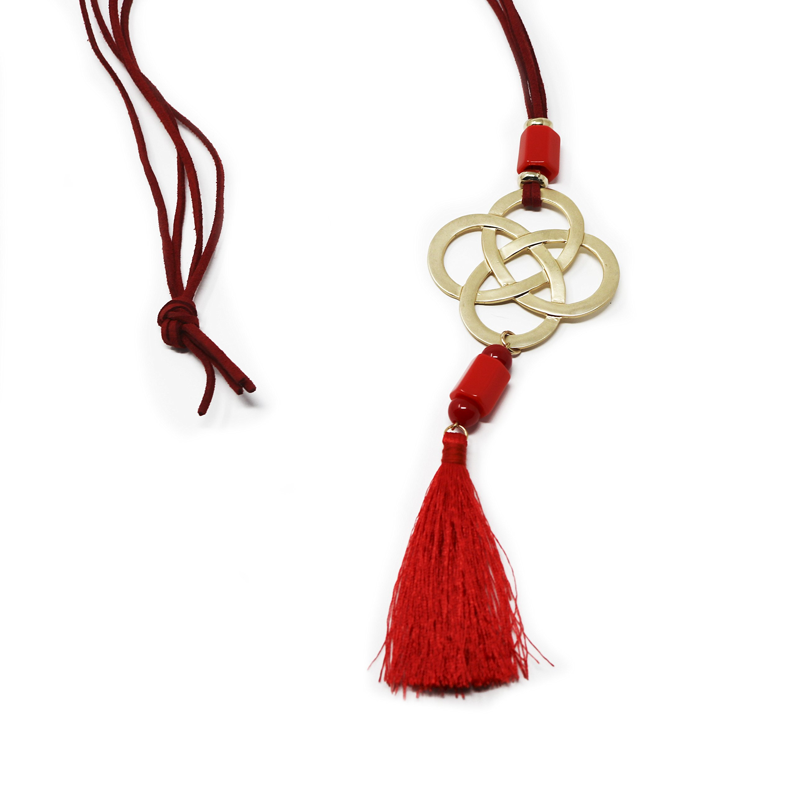 The Navy Knot Red Corded Tassel Necklace with Bold Quatrefoil Pendant - Red Necklace Summer Statement Gold Trendy Long Tassels