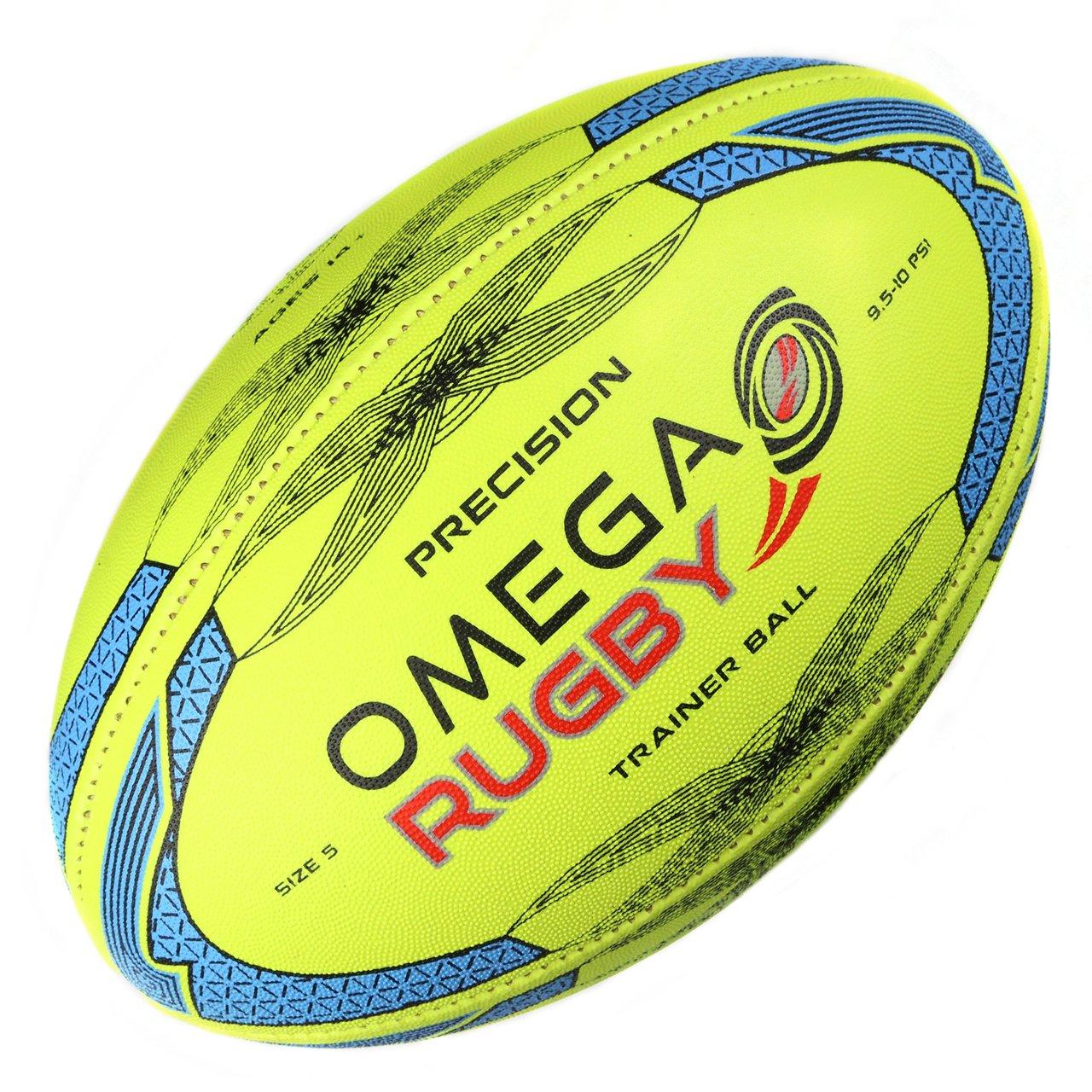オメガRugby Precisionトレーニングラグビーボール B074YC2MCP Fluoro / Blue 3 (Ages 6 - 9)