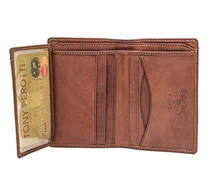 987a46197d17f6 Amazon.com: Italian Cow Leather Front Pocket Vertical Bifold Wallet with ID  Window Flap: Tony Perotti