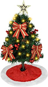"""Joiedomi 24"""" Prelit Tabletop Christmas Tree with Tree Skirt and Decoration Kits, 50-Count Lights pre-Lighted Artificial Mini Christmas Tree for Christmas Tabletop décor"""
