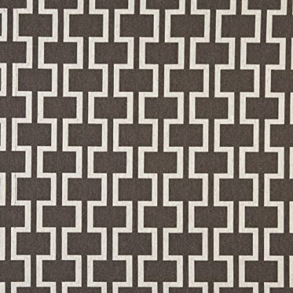 Amazon Com Natural Geometric Trellis Tile On Brown Heavy Linen