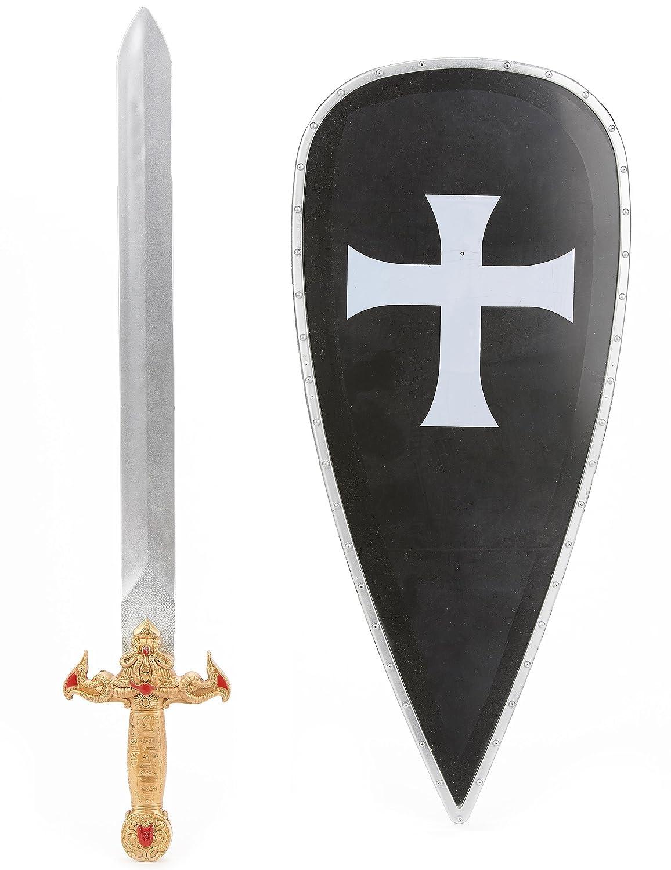 Kit bouclier et épée chevalier croisé en plastique pour Enfant - taille - Taille Unique - 231757