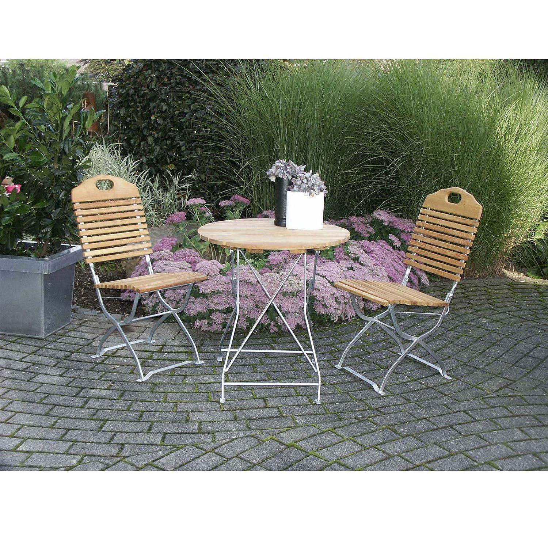 Garnitur BAD TÖLZ 3-teilig verzinkt klappbar / 2x Stuhl, 1x Tisch, Biergartendesign, Robinienholz