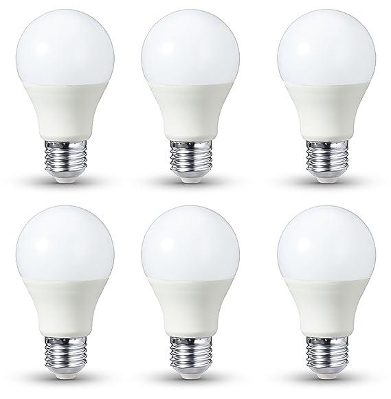 AmazonBasics - Bombilla LED E27, 9 W equivalente a 60 W, 806 lúmenes, regulable - 6 unidades: Amazon.es: Iluminación