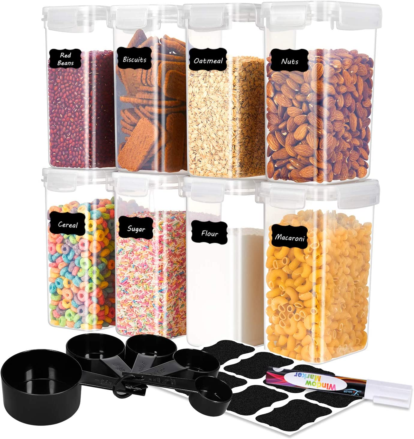 ME.FAN Food Storage Containers [Set of 8] Airtight Storage Keeper-Food Canisters 2.0L(67.64oz) with 5 Set Measuring Cups 24 Chalkboard labels & Pen - White