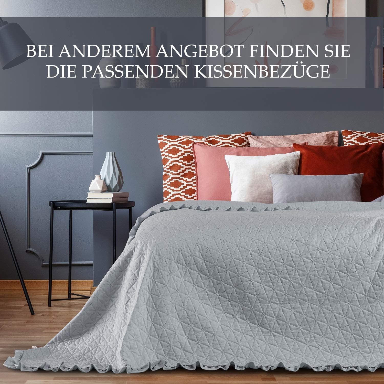 AmeliaHome Laila Velvet Bedspread 170 x 210 cm Tilia Blue Polyester