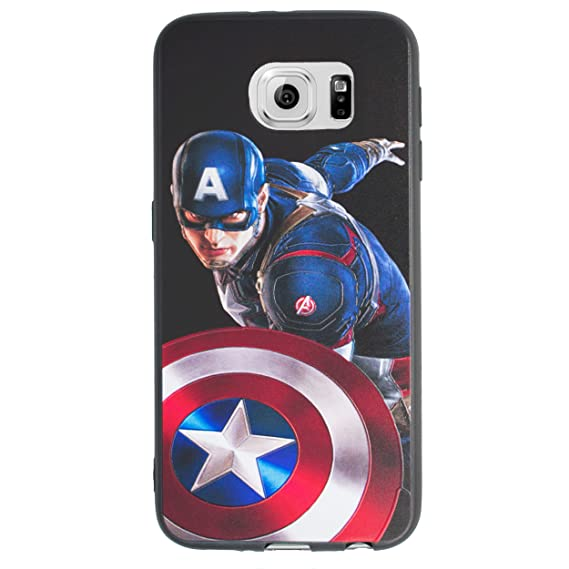 new arrival 2d3ce 0bd77 Galaxy S6 Edge 3D Marvel Silicone Phone Case/Gel Cover for Samsung Galaxy S  6 Edge (S6 Edge/G925) / Screen Protector & Cloth/iCHOOSE / Captain America  ...