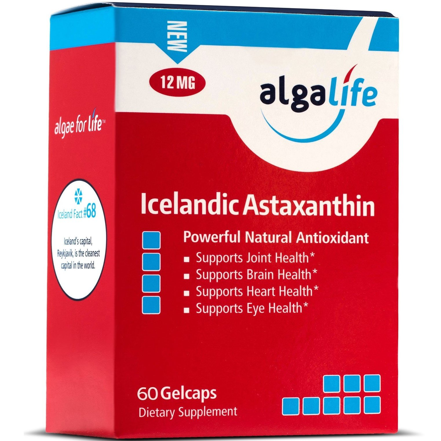 Icelandic Astaxanthin 60 Count – 12mg with Hi-Oleic Sunflower Oil - 60 GelCaps, One Per Day Formula - 60 Day Supply - 12 mg of Pure Natural Astaxanthin