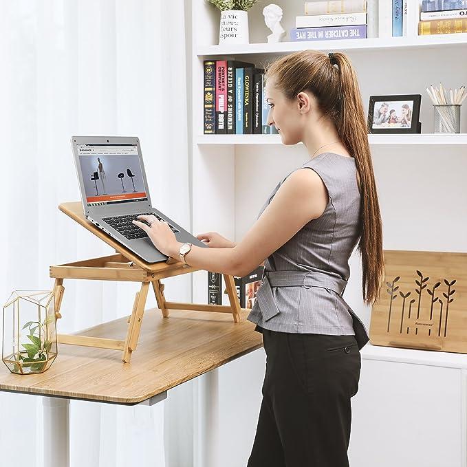 Tavolino Porta Pc Con Ventola Usb E Gambe Allungabili.Songmics Tavolino Porta Laptop In Bambu Pieghevole Vassoio Per Pc