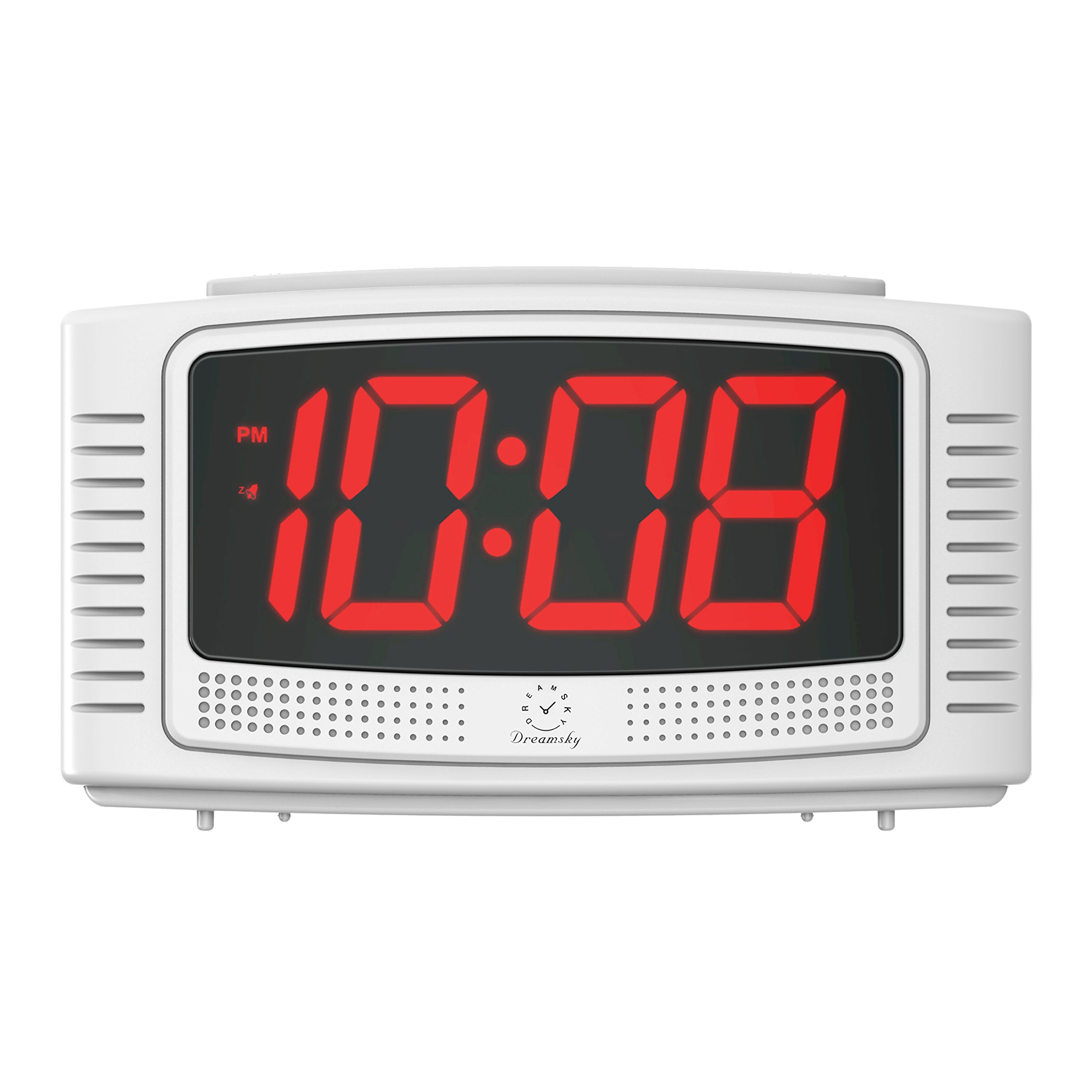 DreamSky Digital Alarm Clock, 1.2'' Clear LED Digit Display with Dimmer (High/Low/Off ), Loud Alarms, Snooze, Simple Operation, Compact Plug in Alarm Clock for Bedroom