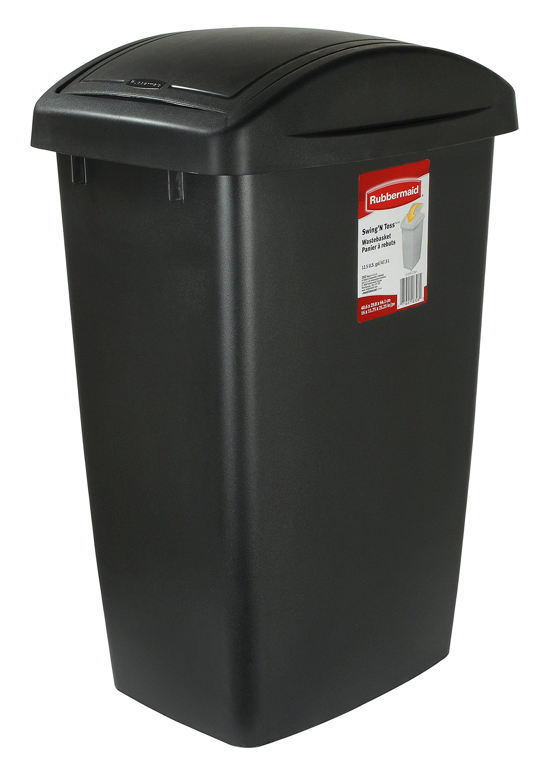 Rubbermaid Swing N' Toss Swing-Top Wastebasket Recycle Bin, 12.5-Gallon, Cashmere, FG2692RECSHM