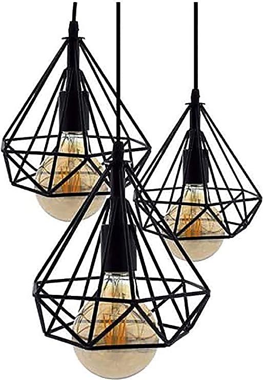 Lámpara de Techo Vintage 3L Cage Retro Iluminación E27 Capacidad AC220-240 V para Comedor, Dormitorio, Café, Barra de Lectura Luz para la decoracion del salon, restaurante [Clase de eficiencia energética A+]