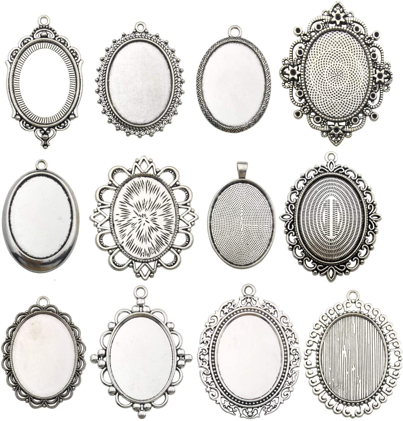 n. 18 4 x  Antique silver cabochon pendant setting fits 25mm glass