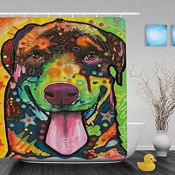 CafeTime Rottweiler Shower Curtains Cute Animals Decor Bathroom Curtains Colorful Art Dog Custom Shower Curtains Mildew