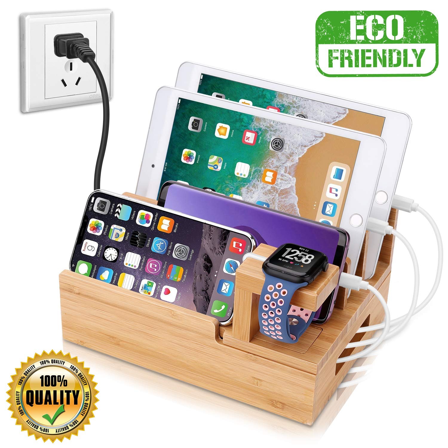 InkoTimes Charging Station with 5-Port USB Charger, Bamboo Charging Station for Multiple Devices of Apple iWatch iPhone iPad Samsung, Universal iOS and Android Cell Phones & Tablets by InkoTimes