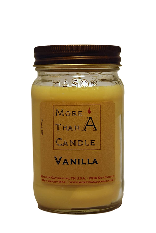 More Than A Candle VNA16M 16 oz Mason Jar Soy Candle, Vanilla B079QPF4CQ