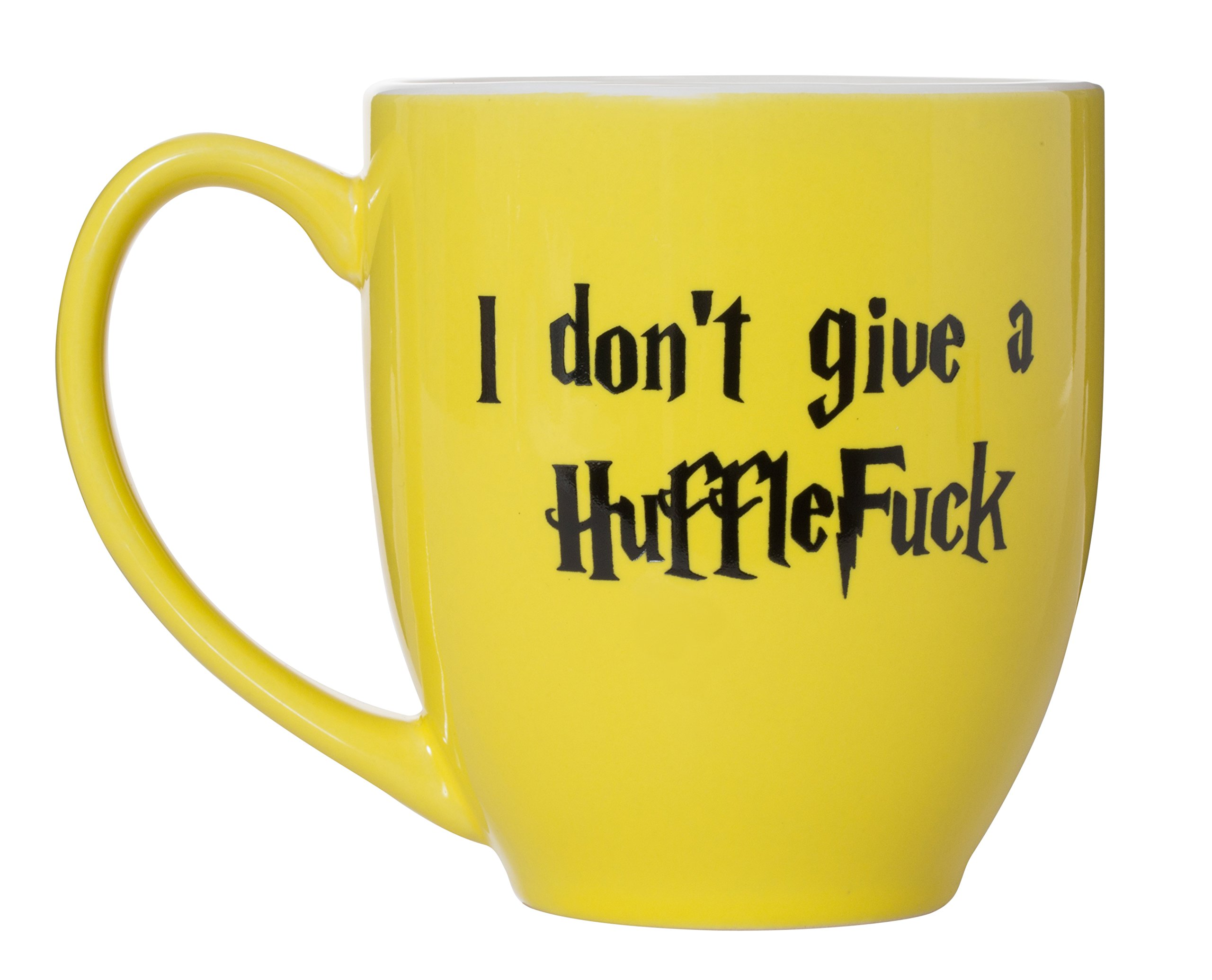 I Don't Give A HuffleFuck - 15oz Bistro Deluxe Double-Sided Coffee Tea Mug (HuffleFuck)
