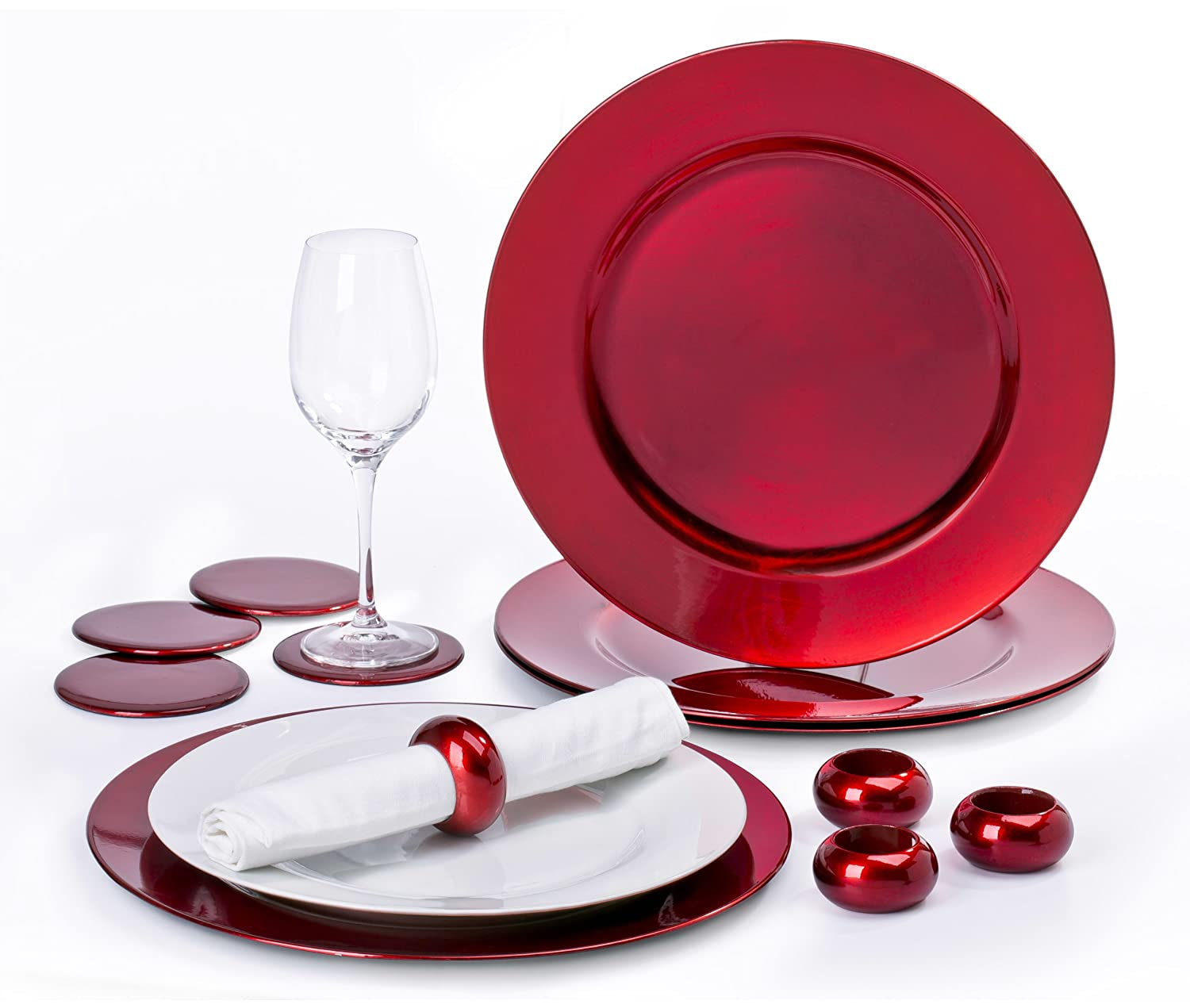 12 Piece Red Charger Plate Set Waterside Fine China
