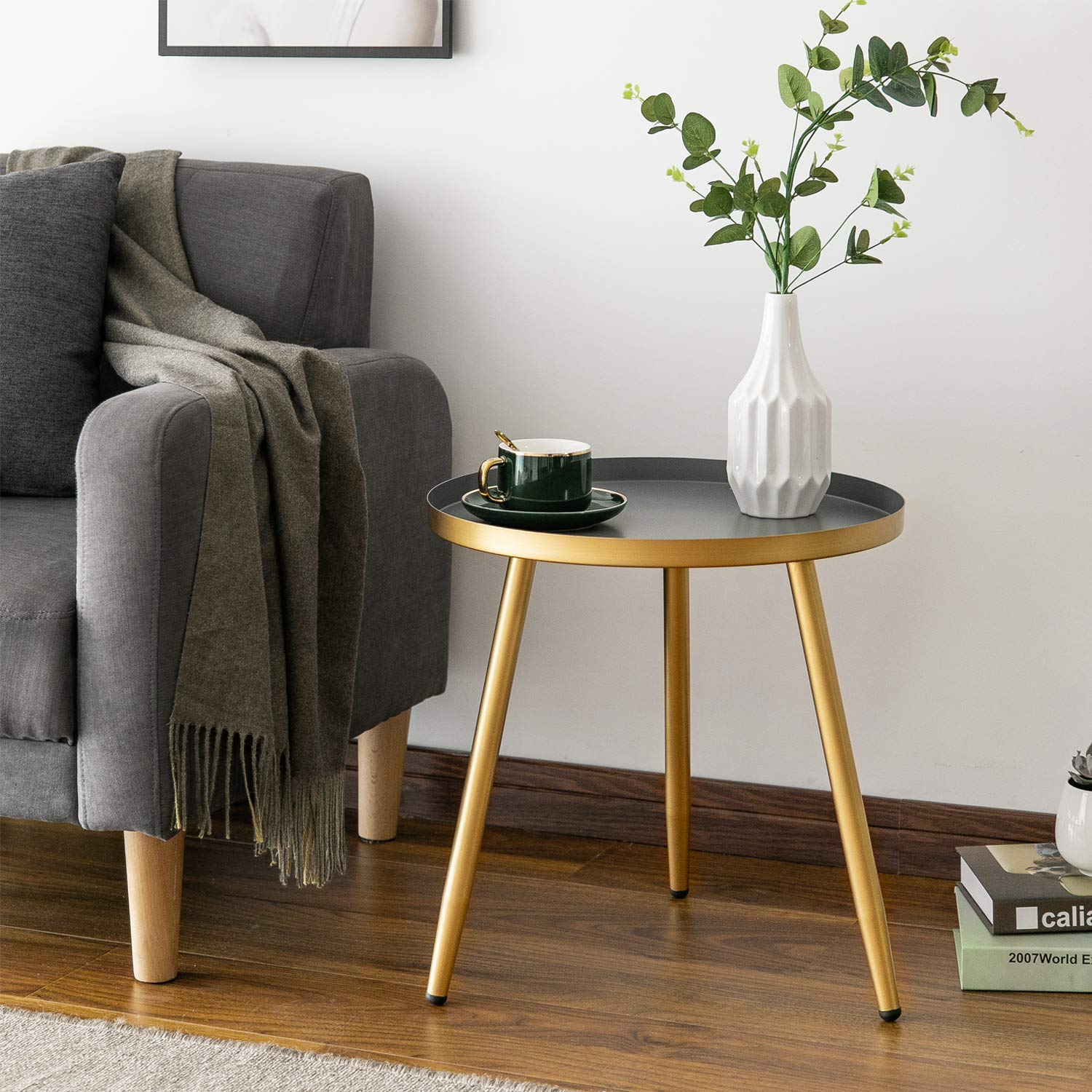Round Side Table, Metal End Table, Nightstand/Small Tables for Living Room, Accent Tables, Side Table for Small Spaces,Gold & Gray by Aojezor by AOJEZOR