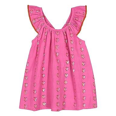 34f1c372b846 Amazon.com  Masala Baby Baby Girls Butterfly Dress Metallic Hearts ...