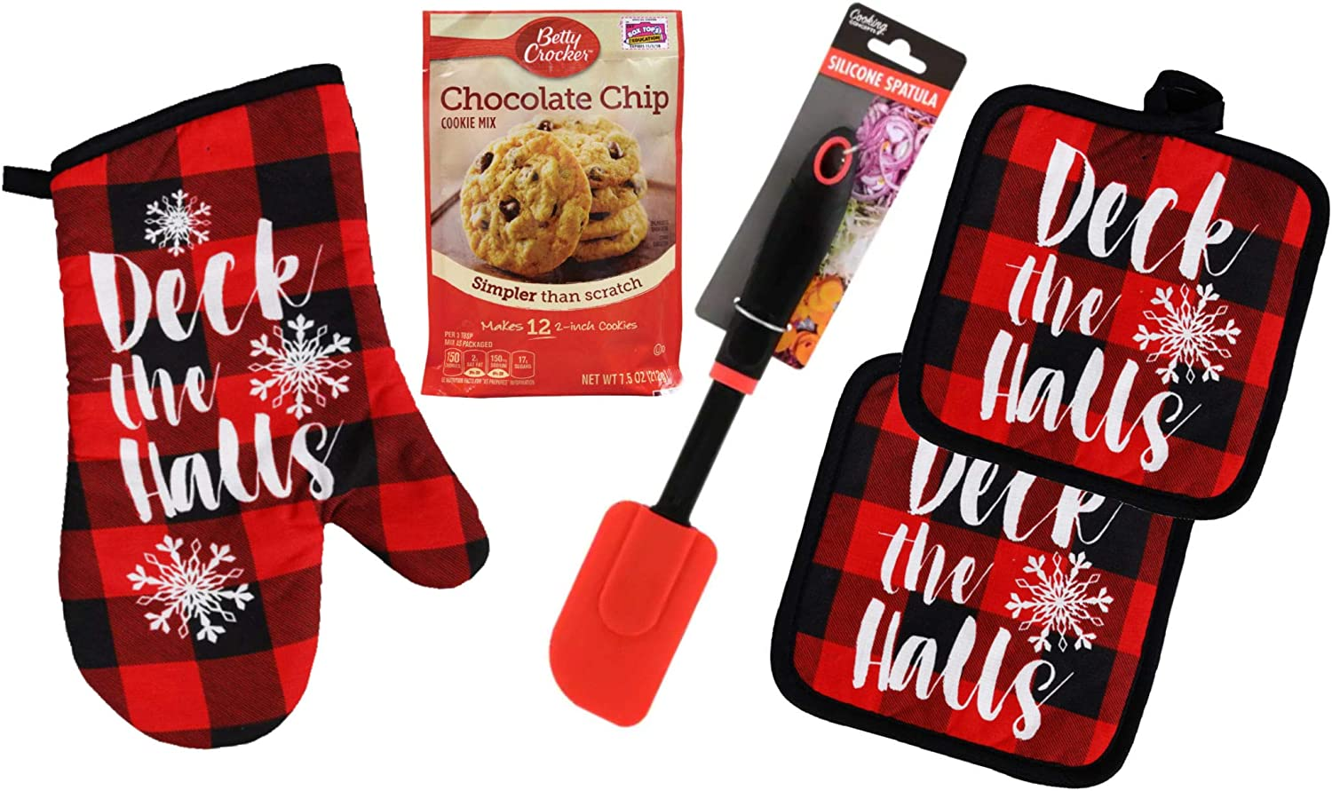 Buffalo Check Kitchen Pot Holders and Oven Mitt Set with Chocolate Chip Cookie Mix and Spatula - Red & Black Plaid - Modern Farmhouse Decor Set (Deck The Halls)