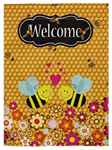 """pingpi Decorative Outdoor Double Sided Bee Garden Flag Welcome Quote, House Yard Flag, Garden Yard Decorations, Seasonal Outdoor Flag 12.5""""x18"""""""