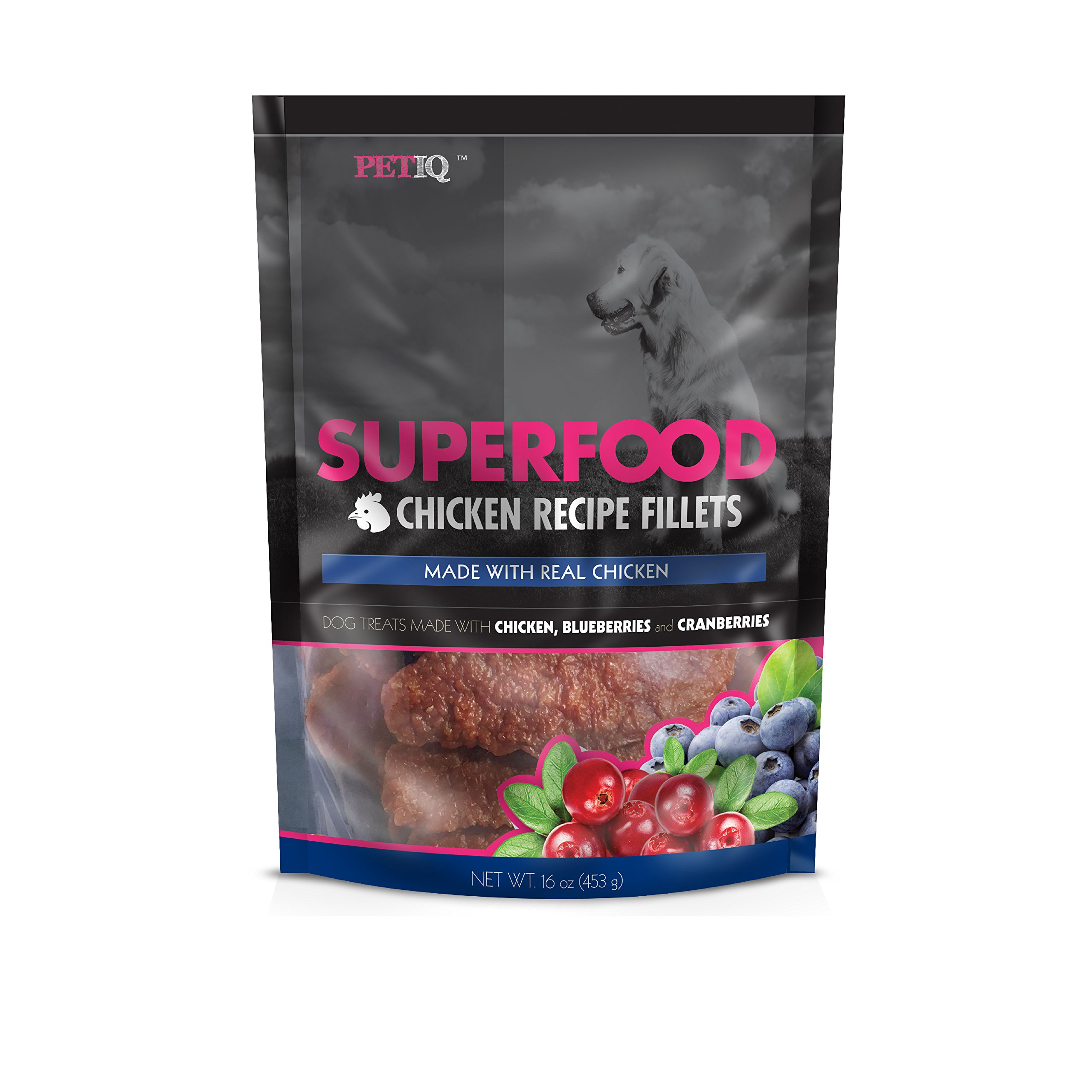 PetIQ Superfood Chicken Recipe Fillets for Dogs - Grain Free Dog Treats, 16oz
