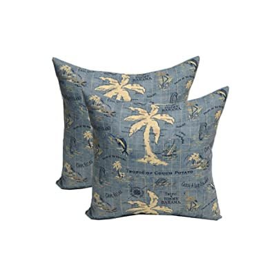 "Resort Spa Home Decor Set of 2 - Indoor/Outdoor Decorative Square Throw/Toss Pillows - Made of Nautical/Tropical Tommy Bahama Island Song Blue - Choose Size (17"") : Garden & Outdoor"