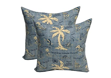 Set Of  Pillow Covers  Tommy Bahama Nautical Tropical Blue Decorative Pillow