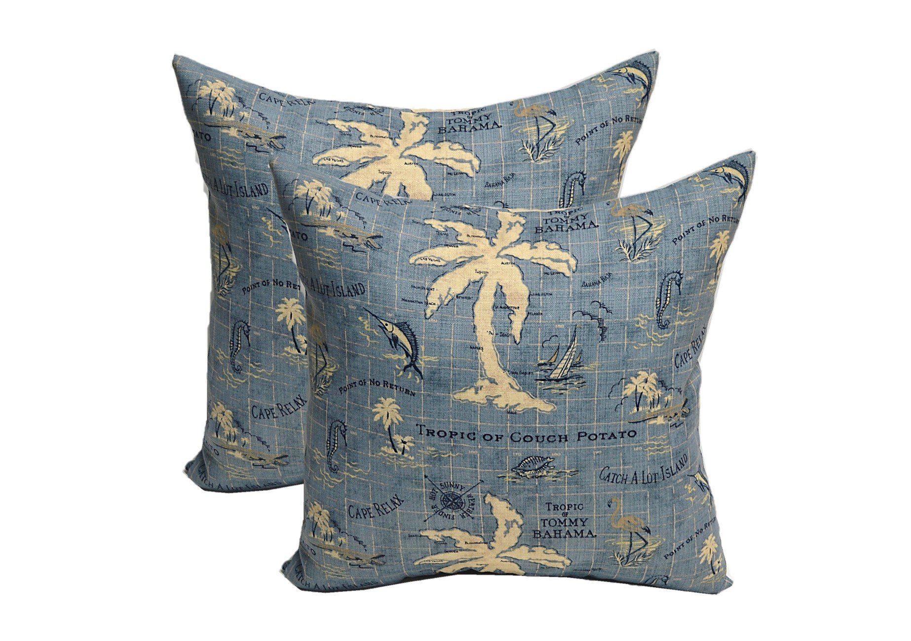 Set of 2 Indoor / Outdoor 20'' Decorative Pillows - Made with Tommy Bahama Tropical Nautical Blue Tan Map Print
