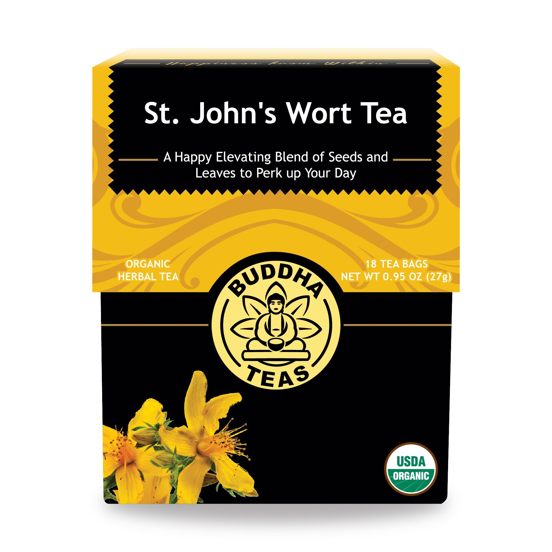Organic St. John's Wort Tea, 18 Bleach-Free Tea Bags –Caffeine Free Tea Makes a Great Pre-Bedtime Relaxant, Decreases Cyclical Hormone Issues, and is Rich in Antioxidants and Vitamin C, No GMOs