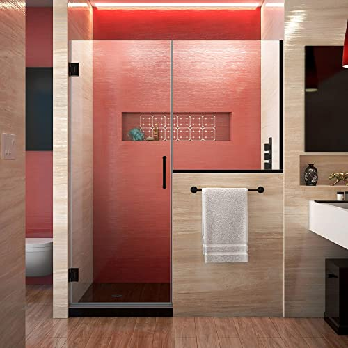 DreamLine Unidoor Plus 63-63 1 2 in. W x 72 in. H Frameless Hinged Shower Door with 34 in. Half Panel in Satin Black, SHDR-24273634-09