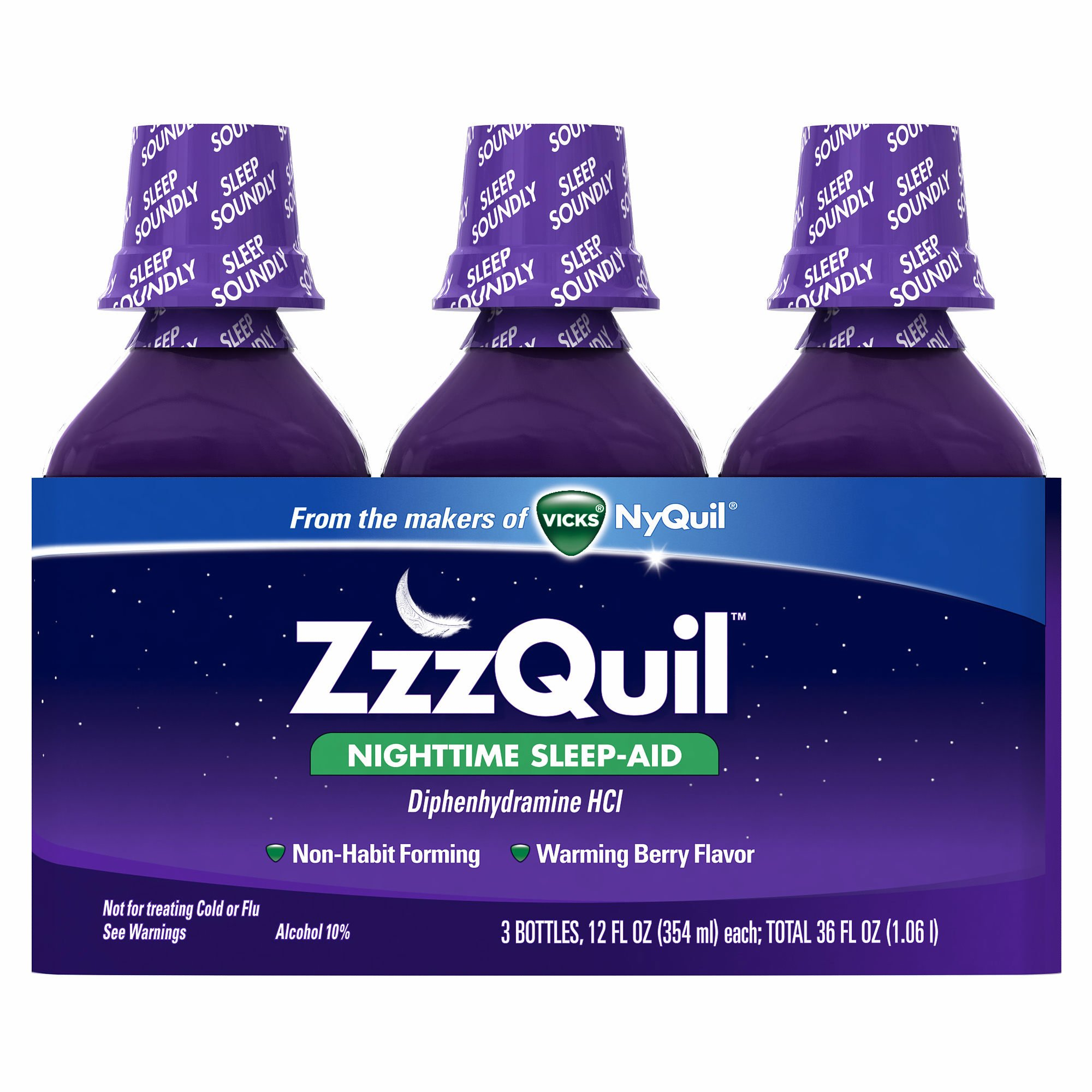 ZzzQuil Nighttime Sleep-Aid Liquid Warming Berry Flavor, 36 oz. (pack of 6)